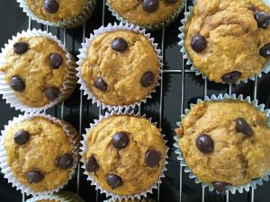 Pumpkin Chocolate Chip Muffins by Marie Tower at Marietower.com