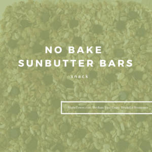 NO BAKE SUNBUTTER BARS by Marie Tower at Marietower.com