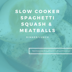 Slow Cooker Spaghetti Squash & Meatballs by Marie Tower at MarieTower.com