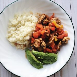Turkey Taco Skillet With Cauliflower Rice by Marie Tower at MarieTower.com