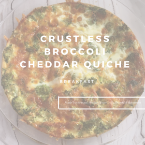 Crustless broccoli cheddar quiche by Marie Tower at MarieTower.com